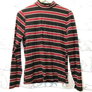 Red and Navy Striped Knit Long Sleeve Top